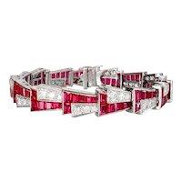 "Vintage Huge 17.40ct t.w. 1940's Retro Lab Ruby & Diamond Bracelet Platinum 6.5-6.75"""