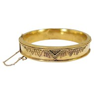"Antique Victorian 1850's Etruscan Revival Cuff Bracelet Hinged 18k Yellow Gold 5.75"" Inch Wrist"