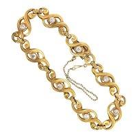 Antique Diamond Gold Bracelet .88ct t.w. Circa 1900's Old European Cut Bracelet 22k Yellow Gold Platinum 7.25' Inch Wrist