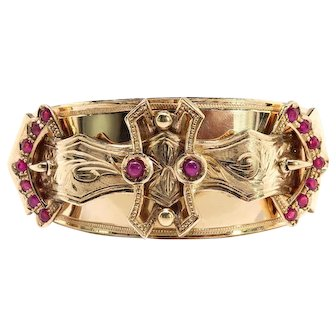 Antique Gold and Ruby Buckle Bangle Bracelet 12k Yellow Gold
