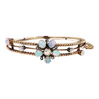 "Antique Victorian Opal Diamond Bracelet 14k Rose Gold Rope Design Hinged Bracelet 6.5"" Inch Wrist"
