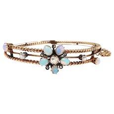 "Antique Victorian Opal Diamond Bracelet 14k Rose Gold Rope Design Hinged Bracelet 6.5"" Inch Wrist"
