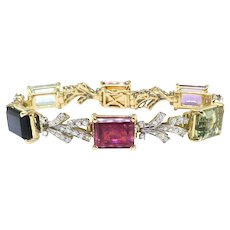 "Beautiful Vintage 28.52ct t.w. Multi-Gemstone Diamond Bracelet 18k Platinum 6.25"" Inch Wrist"