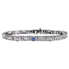 "Art Deco Sapphire Diamond Bracelet Circa 1930's 1.35ct t.w. 14k White Gold 5.75"" Inches Long"