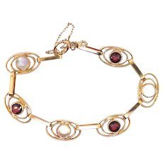 "Art Deco Moonstone Garnet Rose Yellow Gold Bracelet Circa 1930s' 3.54ct t.w. 14k 6.25"" Inches"