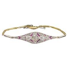 Antique Ruby Diamond Bracelet Circa 1920's Edwardian Vintage Rose Cut Diamond Lab Ruby 18k 6.25 Inch Wrist