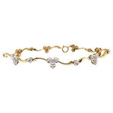 "Vintage Diamond Clover Bracelet Circa 1960's .27ct t.w. Unique Tennis Good Luck Bracelet 9k Yellow White Gold 7"" Inch Wrist"