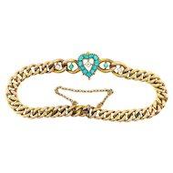 "Antique Turquoise Diamond Bracelet Circa 1890's Victorian .68ct t.w. Heart Shaped Curb Link Push Present Charm Bracelet 14k Gold 7"" Inches"