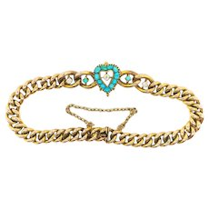 "Antique Turquoise Diamond Bracelet Circa 1890's Victorian .68ct t.w. Heart Shaped Curb Link Push Present Charm Bracelet 14k Gold 7"" Inches"