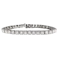 Art Deco 7.20ct t.w. Diamond Tennis Bracelet Circa 1930's Hand Engraved Vintage Antique Old European Transitional Cut Bracelet Platinum