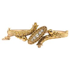 "Antique Victorian Diamond Bracelet Circa 1880's .35ct t.w. Old European Cut Hinged Cuff Bracelet 18k Yellow Gold 6"" Inch Wrist"
