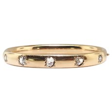 "Antique Rose Cut Diamond Bracelet Victorian 1890's 1.04ct t.w. Hinged Cuff Stacking Bangle 18k Yellow Gold 6.5"" Inch Wrist"