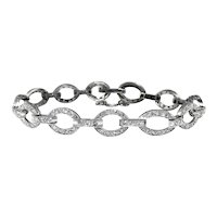 Art Deco Diamond Platinum Oval Link Bracelet For 7 Inch Wrist