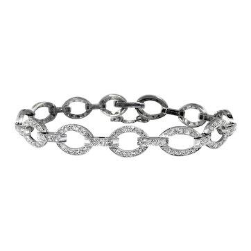 Art Deco Diamond Platinum Oval Link Bracelet For 7 Inch Wrist