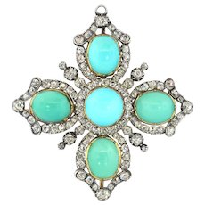 Antique Victorian Turquoise and Diamond Maltese Cross Pendant Brooch 17.34ct t.w.