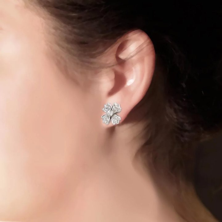 66c69fcc6 Estate Tiffany & Co. .70ct t.w. Diamond Floret Snowflake Stud Earrings  Platinum