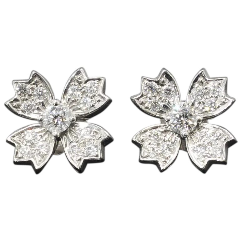 Estate Tiffany Co 70ct T W Diamond Floret Snowflake Stud Earrings Platinum