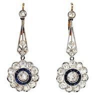 Vintage Edwardian 1920's 4ct t.w. Blue Sapphire & Diamond Halo Chandelier Wedding Earrings Platinum 18k Yellow Gold