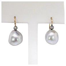 Antique Art Nouveau 1900's Old Mine Cut Diamond Gray Baroque Pearl Drop Earrings 14k Rose Gold Sterling Silver