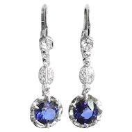 Art Deco Sapphire Diamond Earrings 4.03ct t.w. Vintage Circa 1930's Drop Chandelier Earrings Platinum 14k