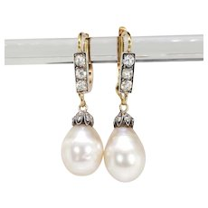 Antique Natural Pearl and Diamond Drop Earrings Victorian GIA Certified
