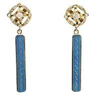 Antique Edwardian Rose Cut Old European Cut Mine Cut Diamond & Blue Enamel Drop Earrings .36ct t.w. Circa 1915 18k Yellow Gold