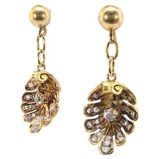 Victorian Antique Diamond Earrings Circa 1890's .50ctw Old Mine Cut & Rose Cut Diamond Shell Drop Earrings 18k Yellow Gold