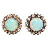 Antique Victorian 1.20ct t.w. Opal & Rose Cut Diamond Halo Earrings 10k Yellow Gold