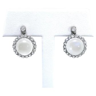 Moonstone & Old European Cut Diamond Drop Post Earrings 18k Gold Platinum