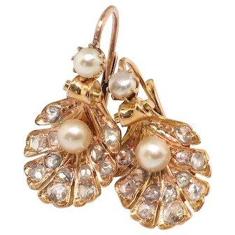 Antique Pearl and Rose Cut Diamond Shell Drop Earrings 18k