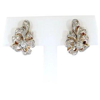 Antique Diamond Bow Flourish Earrings Platinum 18k