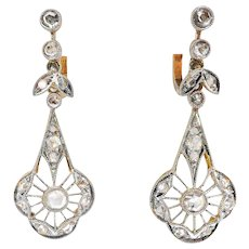 Antique Rose Cut Diamond Filigree Drop Earrings Platinum over 14k