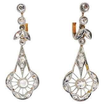 Antique Rose Cut Diamond Filigree Drop Earrings Platinum over 14k