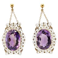 Huge Vintage Amethyst 38.28ct.tw. Filigree Vintage Drop Chandelier Earrings 14k
