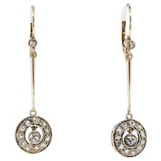 Large Antique 1900's .82ct t.w. Rose Cut Diamond Drop Wedding Chandelier Earrings Rose Gold 14k/10k