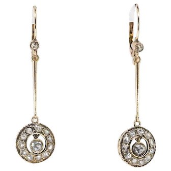 Large Antique 1900's .82ct t.w. Rose Cut Diamond Drop Wedding Chandelier Earrings Rose Gold 14k/10k