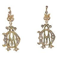 Antique Rose Cut Earrings .30ct t.w. Diamond Drops Rose-Yellow Gold 14k