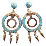 Antique Blue Enamel Earrings Circa 1900's Blue Drop Chandelier Earrings 14k Yellow Gold