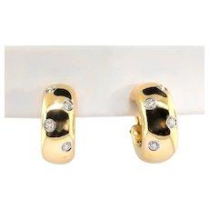 Estate Tiffany & Co. Etoile' Diamond Earrings .35ct t.w. Hoops Omega Backs 18k Yellow Gold Platinum