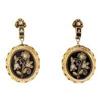 Elegant Retro Black Enamel and Diamond Drop Earrings in 15k Yellow Gold