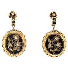 Elegant Retro Black Enamel and Diamond Drop Earrings in 15k Yellow Gold
