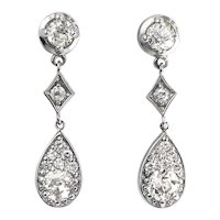 Vintage Diamond Drop Earrings Circa 1990's 1.67ct t.w. Old European Cut Chandelier Wedding Earrings 14k White Gold
