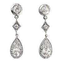 Vintage Diamond Drop Earrings Circa 1990's 1.67ct t.w. Old European Cut Chandelier Wedding Earrings 14k White Gold
