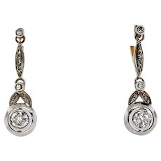 Art Deco Diamond Earrings Circa 1930's .93ct t.w. 18k Yellow White Gold Wedding Chandelier Drops