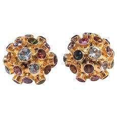 Vintage Gemstone Sputnik Earrings 6.78ct t.w. 1960's Multi-Gemstone Clip Earrings 18k Yellow Gold