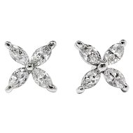Estate Marquise Diamond Studs Circa 1990's .40ct t.w. Marquise Floral Petal Bridal Wedding Earrings 14k White Gold