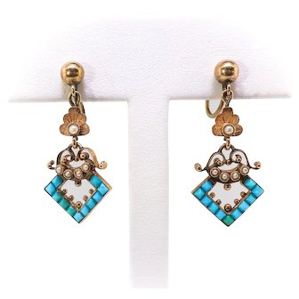 Antique Turquoise Pearl Chandelier Earrings Circa 1880's Victorian .66ct t.w. 14k Yellow Gold Wedding Chandelier Drops