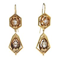 Antique Rose Cut Diamond Earrings Circa 1890's .80ct t.w. Victorian Wire Drop Wedding Chandelier Earrings 22k Yellow Gold