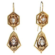 Antique Rose Cut Diamond Earrings Circa 1890's .80ct t.w. Victorian Wire Drop Wedding Chandelier Earrings 22k Yellow Gold