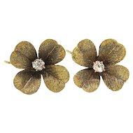 Antique Diamond Clover Earrings Circa 1900's Art Nouveau .19ctw Old European Cut Wedding Earrings 10k Yellow Gold